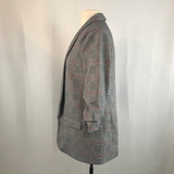 Time and Tru Gray Glen Plaid Long Open Blazer, Medium Style TTL38420PR