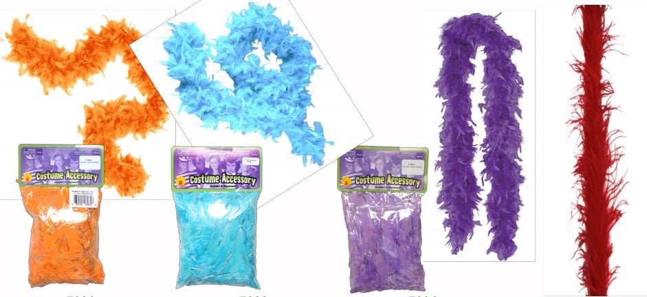 Girls Feather Boa, 48 inches, Orange, Blue or Purple