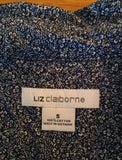 Liz Claiborne Women's Button up Navy Blue Blouse Floral Print Small - Nevermore Costumes