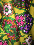 Fabulous 1970's Vintage Beaded Maxi Skirt Jeri Jo Knitwear, Inc. Lemon Yellow Floral Pattern - Nevermore Costumes