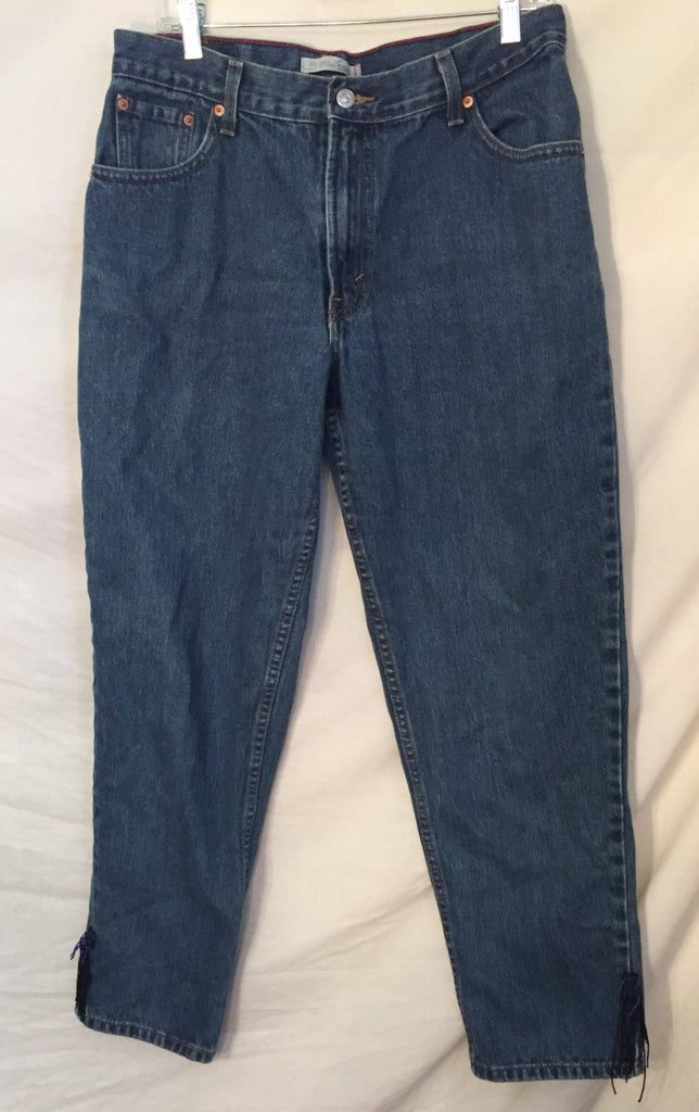 1980's 1990's Vintage Levi's 550 Relaxed Tapered Denim jeans size 14M with ankle tassels - Nevermore Costumes