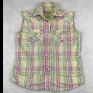 Cowgirl Legend sleeveless Western Snap Front Girls Shirt, Pink Green Yellow Plaid, XL