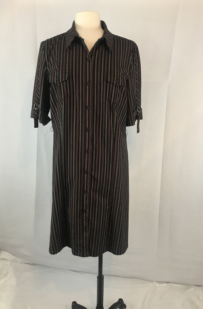 Studio C Black Pin Striped Shirt Dress, Size 16