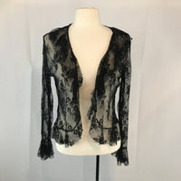 Sexy Vintage Hanky Panky Sheer Black Lace Bolero Jacket Shrug, Large
