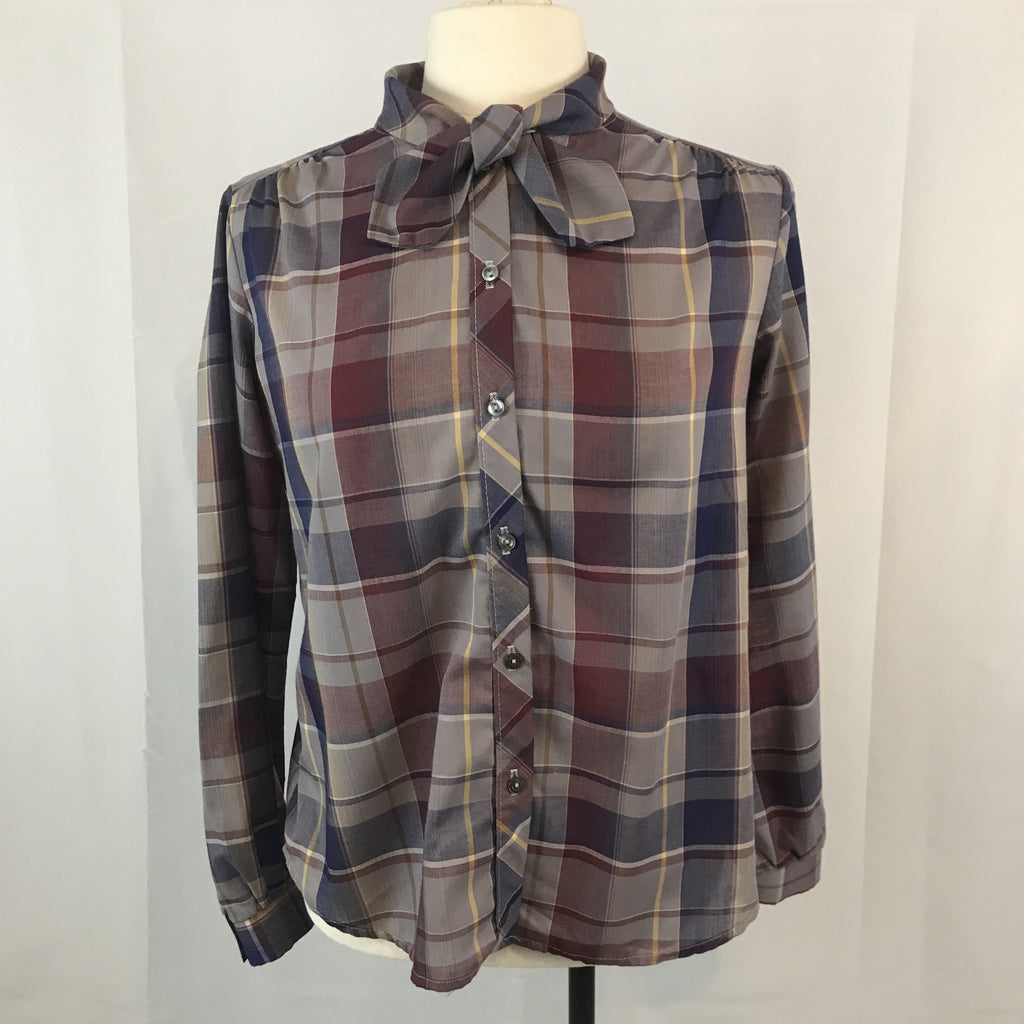 Vintage Gray and Purple Plaid Secretary Blouse, 14