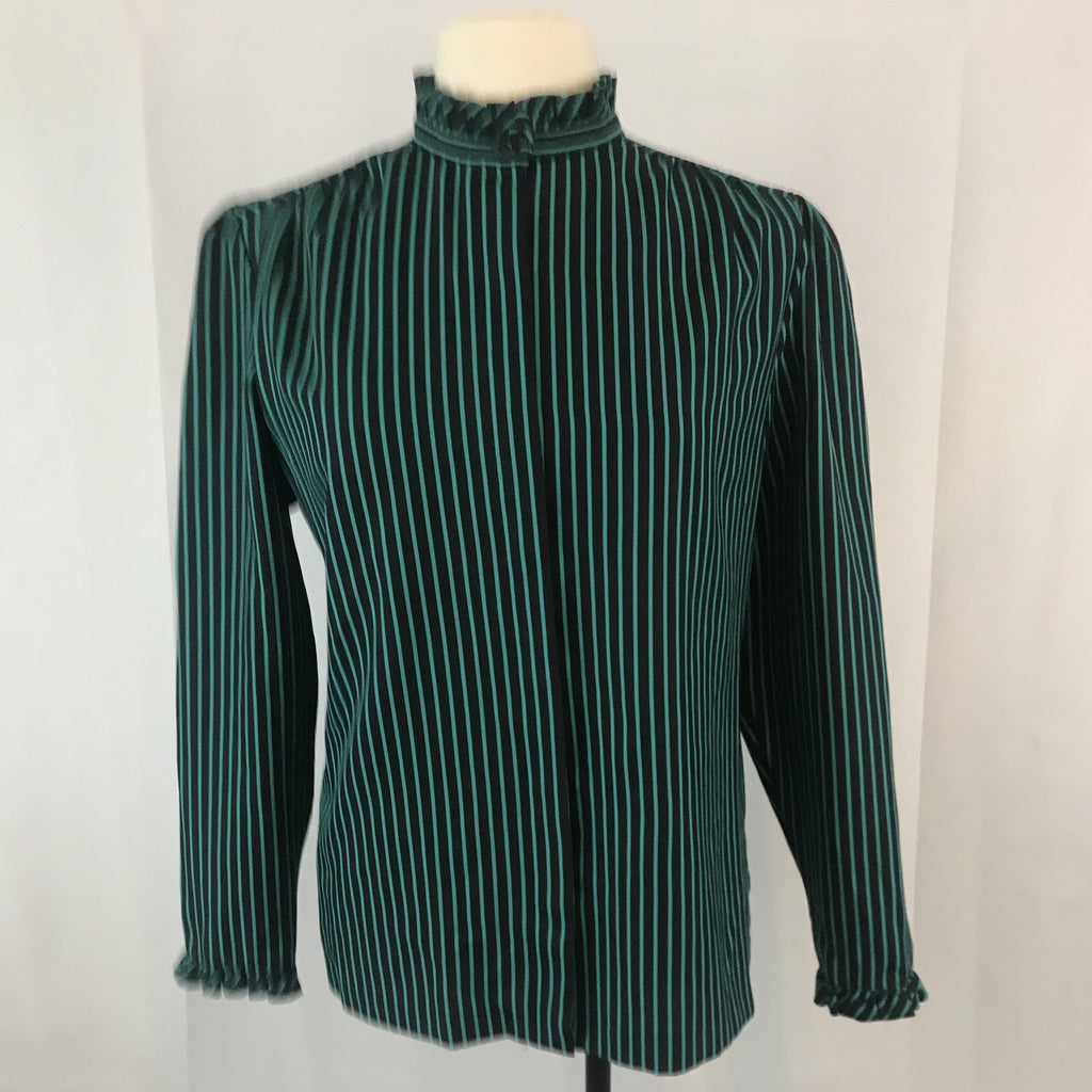 Vintage Center Stage Black and Green Striped Secretary Blouse