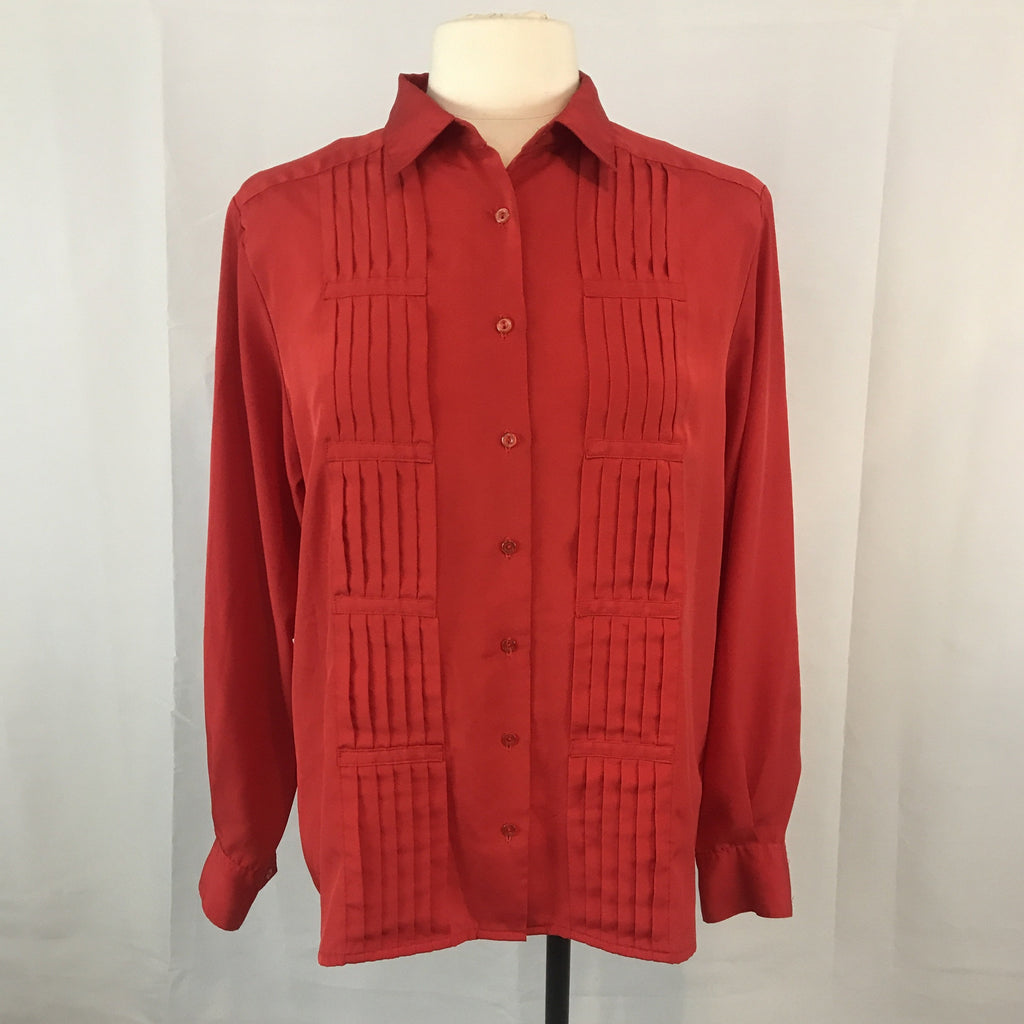 Vintage 80's Yves St Clair Red Secretary Button Up Blouse, Pleated Front