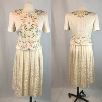 Maggy London 2 Piece Cream Silk Skirt and Top with Floral Print