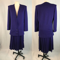 Purple Wool Blazer and Pleated Skirt Set, 1980's