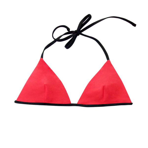Scarlet Red and Black Reversible Triangle Top | Ana Banana Swim