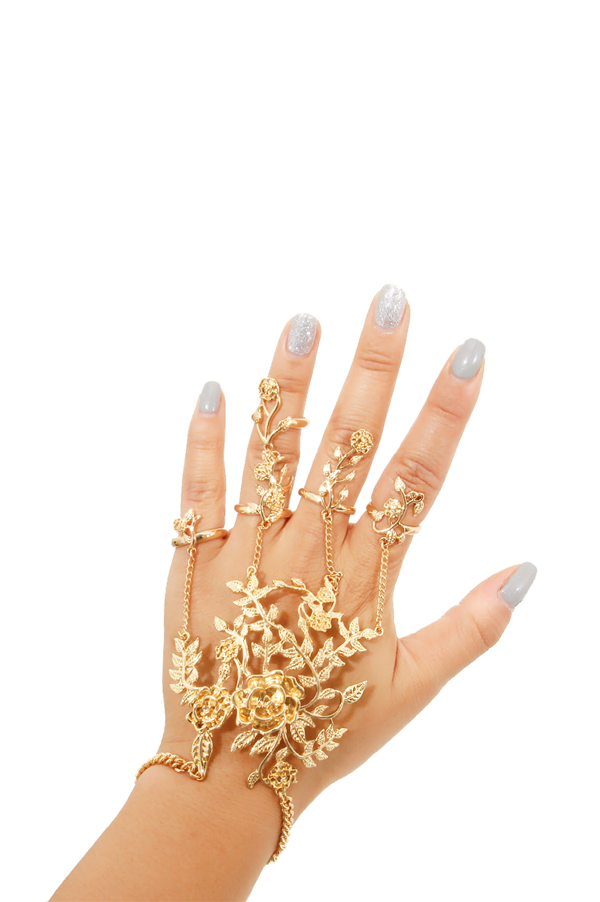 Floral Gold Hand Chain - Rich Girl's Closet