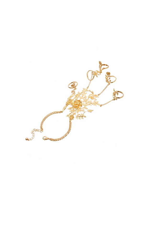Floral Gold Hand Chain - Rich Girl's Closet - 2