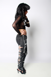 SAMPLE SALE Painted Ego Rip Denim Jeans - Rich Girl's Closet - 9