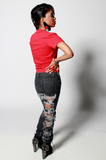 SAMPLE SALE Painted Ego Rip Denim Jeans - Rich Girl's Closet - 16
