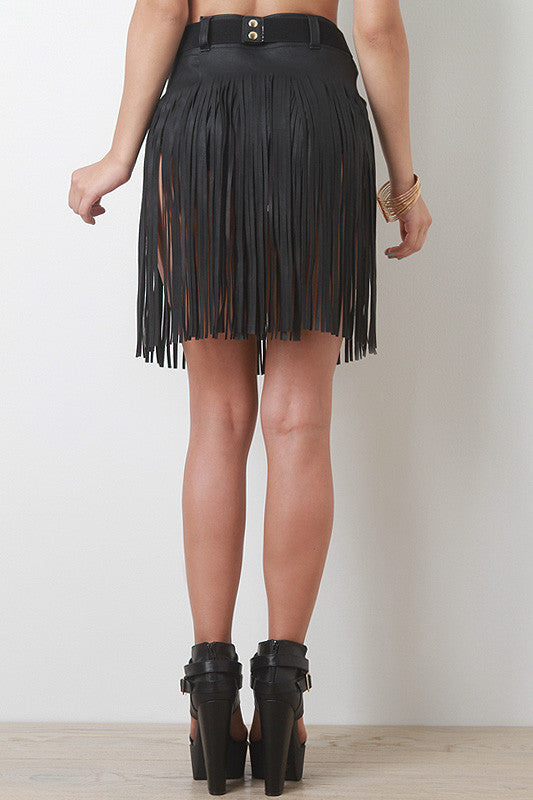 Fringed Leatherette Skirt Belt - Rich Girl's Closet - 2
