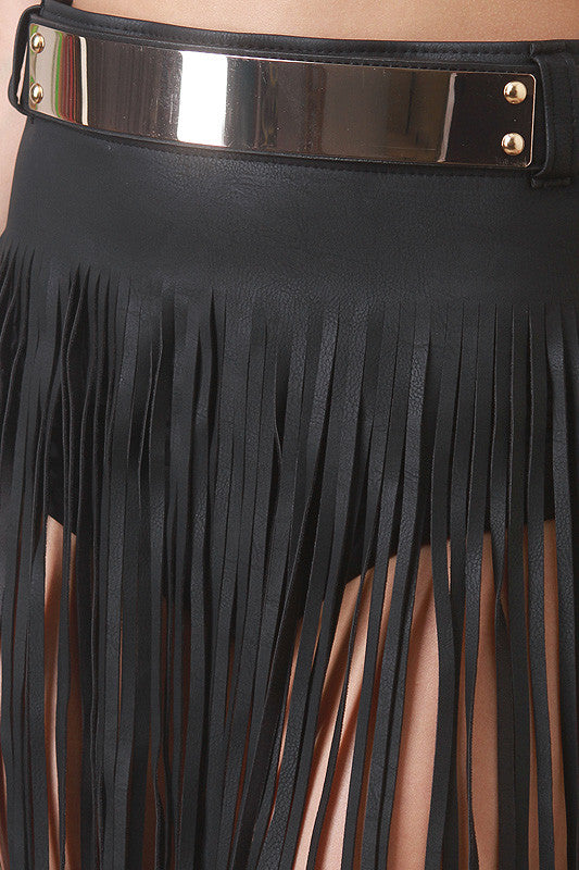 Fringed Leatherette Skirt Belt - Rich Girl's Closet - 3