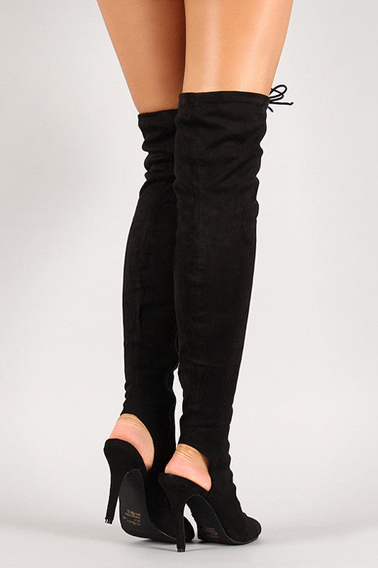 Breckelle Lace Up Back Cut Out Over The Knee Boot - Rich Girl's Closet - 6
