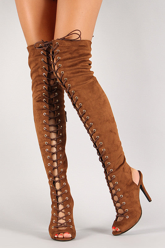Breckelle Lace Up Back Cut Out Over The Knee Boot - Rich Girl's Closet - 18