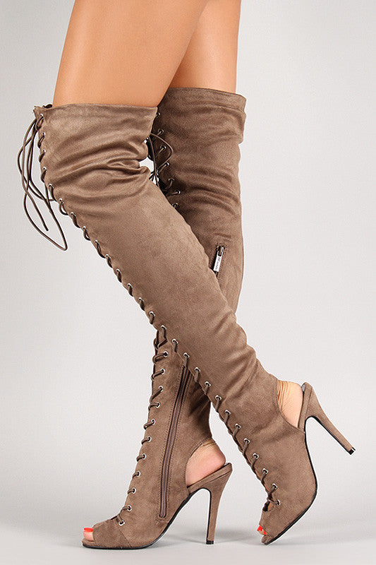 Breckelle Lace Up Back Cut Out Over The Knee Boot - Rich Girl's Closet - 12