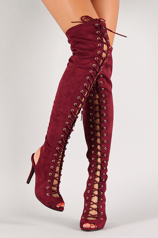Breckelle Lace Up Back Cut Out Over The Knee Boot - Rich Girl's Closet - 24
