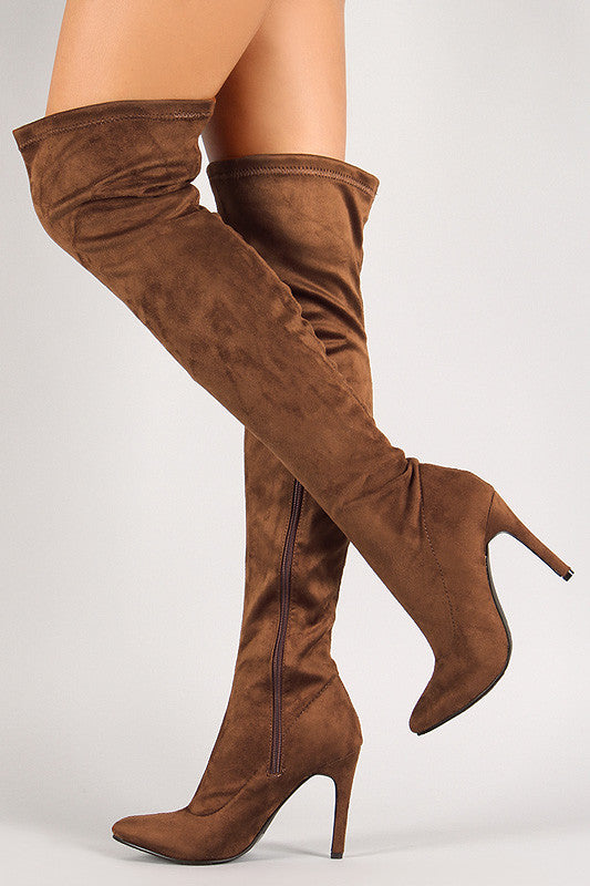 Breckelle Vegan Suede Stiletto Over-The-Knee Boot - Rich Girl's Closet - 18