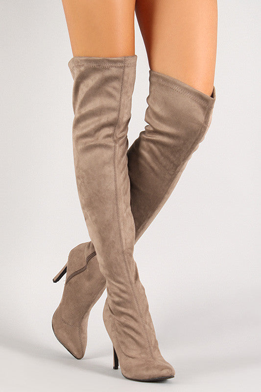 Breckelle Vegan Suede Stiletto Over-The-Knee Boot - Rich Girl's Closet - 11