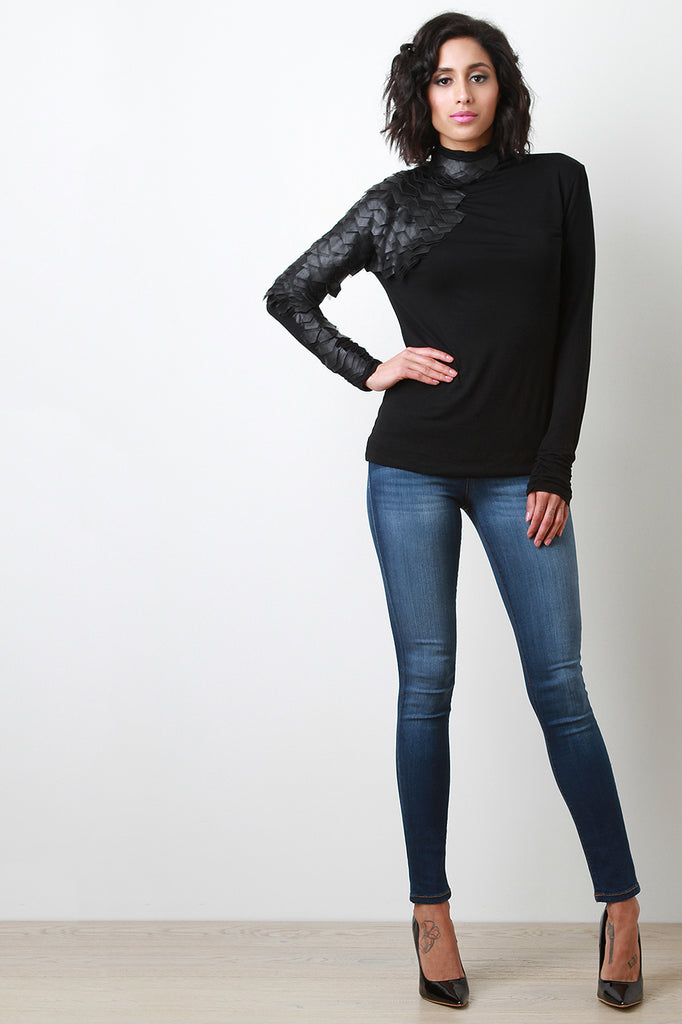 Scale Accent Turtleneck Top