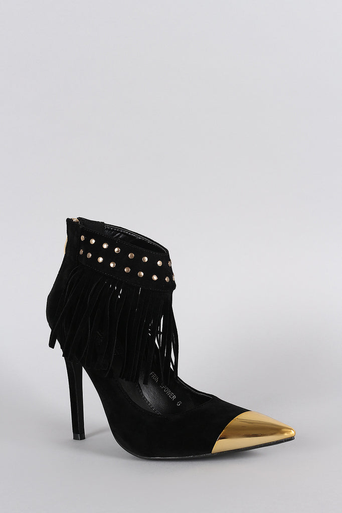 Studded Fringe Ankle Cuff Pointy Toe Stiletto Pump - Rich Girl's Closet - 12