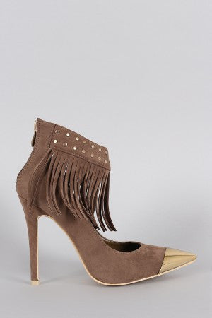 Studded Fringe Ankle Cuff Pointy Toe Stiletto Pump - Rich Girl's Closet - 7