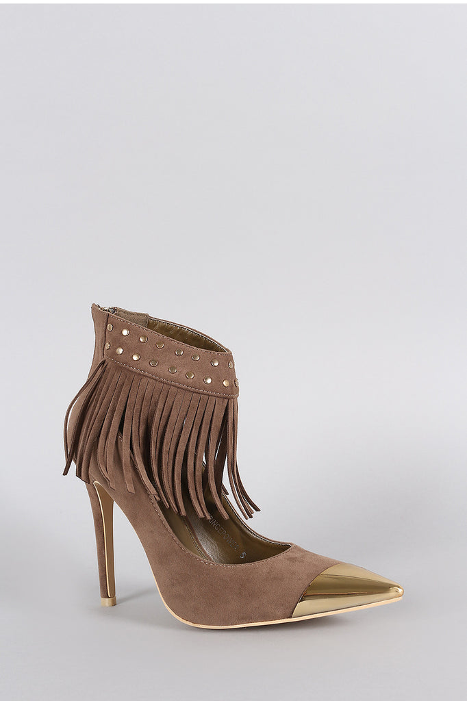 Studded Fringe Ankle Cuff Pointy Toe Stiletto Pump - Rich Girl's Closet - 9
