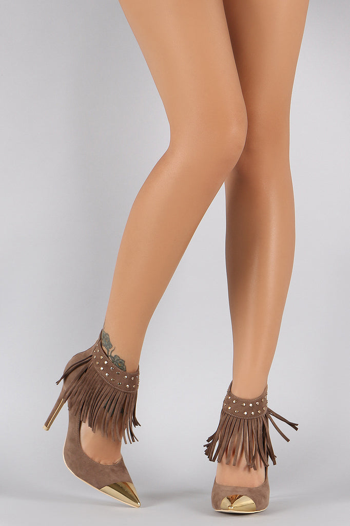 Studded Fringe Ankle Cuff Pointy Toe Stiletto Pump - Rich Girl's Closet - 10