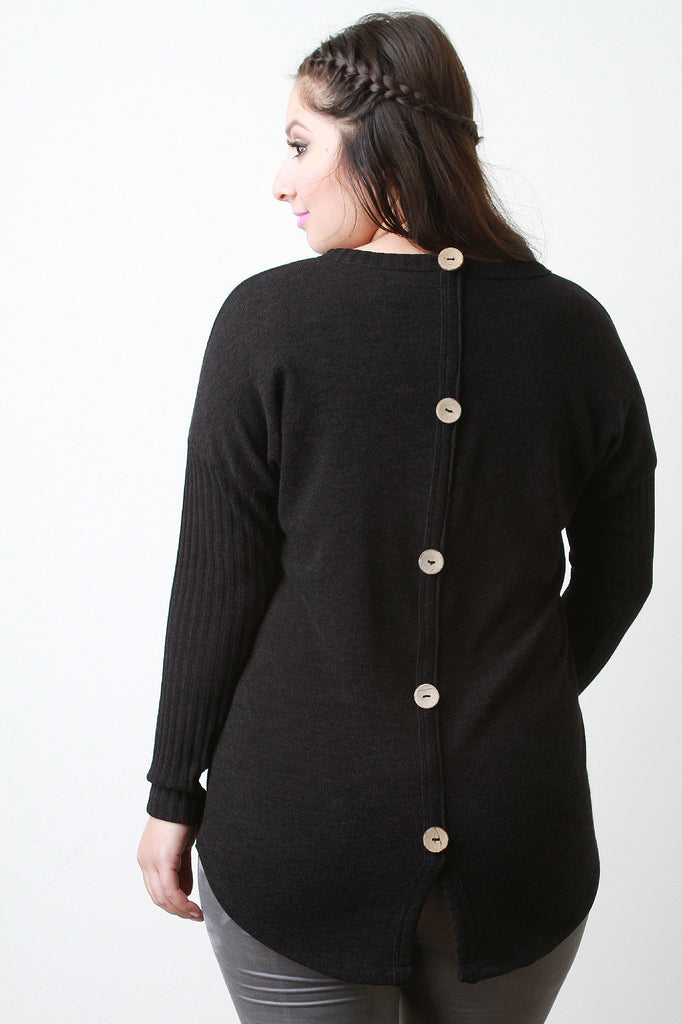 Button Back Sweater Top - Rich Girl's Closet - 1