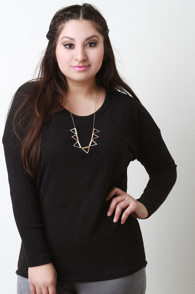 Button Back Sweater Top - Rich Girl's Closet - 2