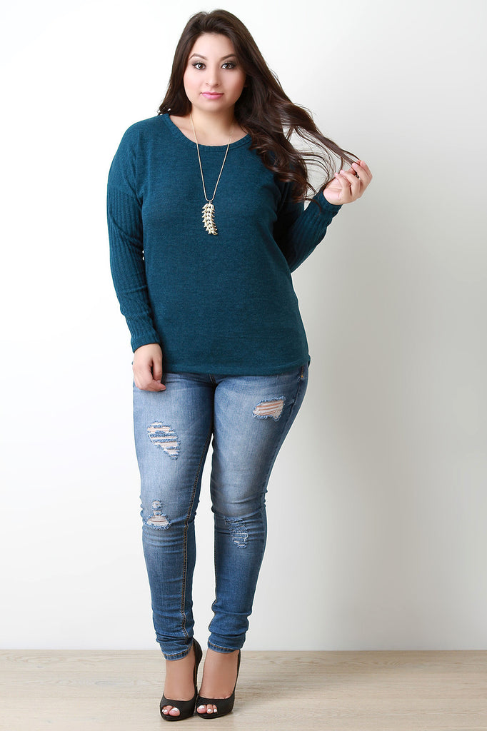 Button Back Sweater Top - Rich Girl's Closet - 6