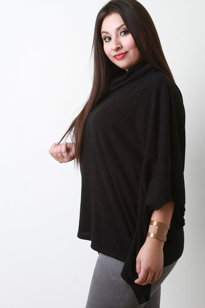 Soft Knit Cowl Neck Poncho Top - Rich Girl's Closet - 12