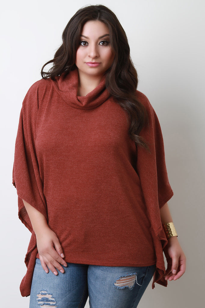Soft Knit Cowl Neck Poncho Top - Rich Girl's Closet - 18