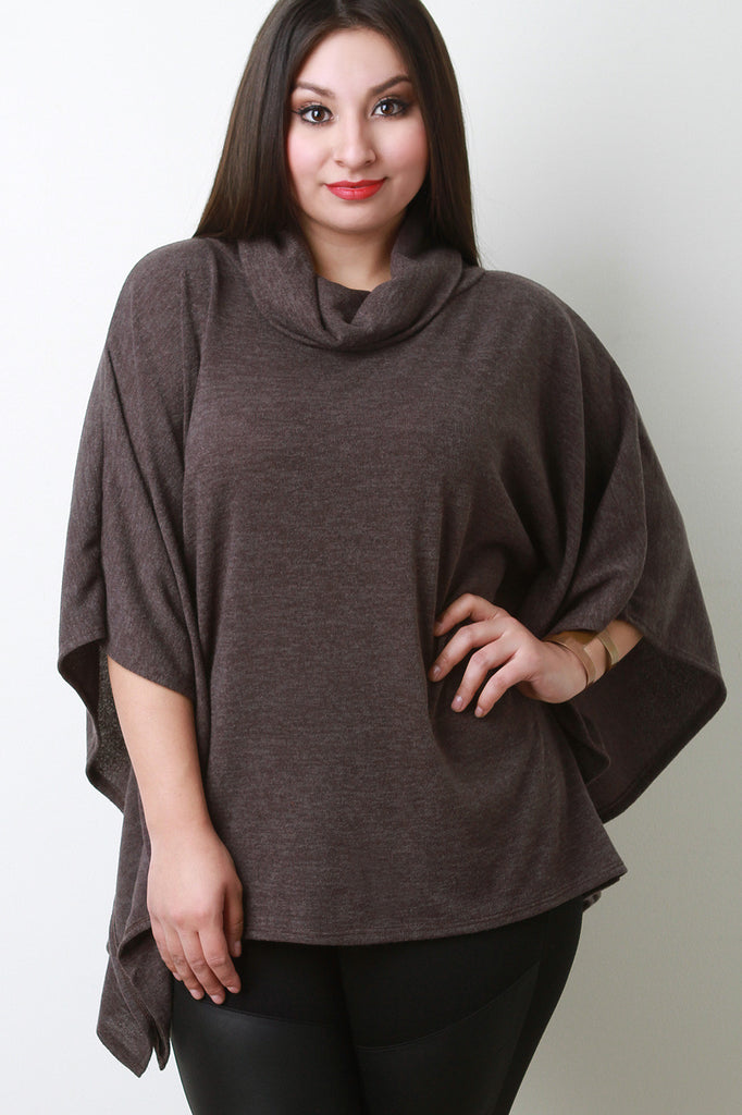 Soft Knit Cowl Neck Poncho Top - Rich Girl's Closet - 14