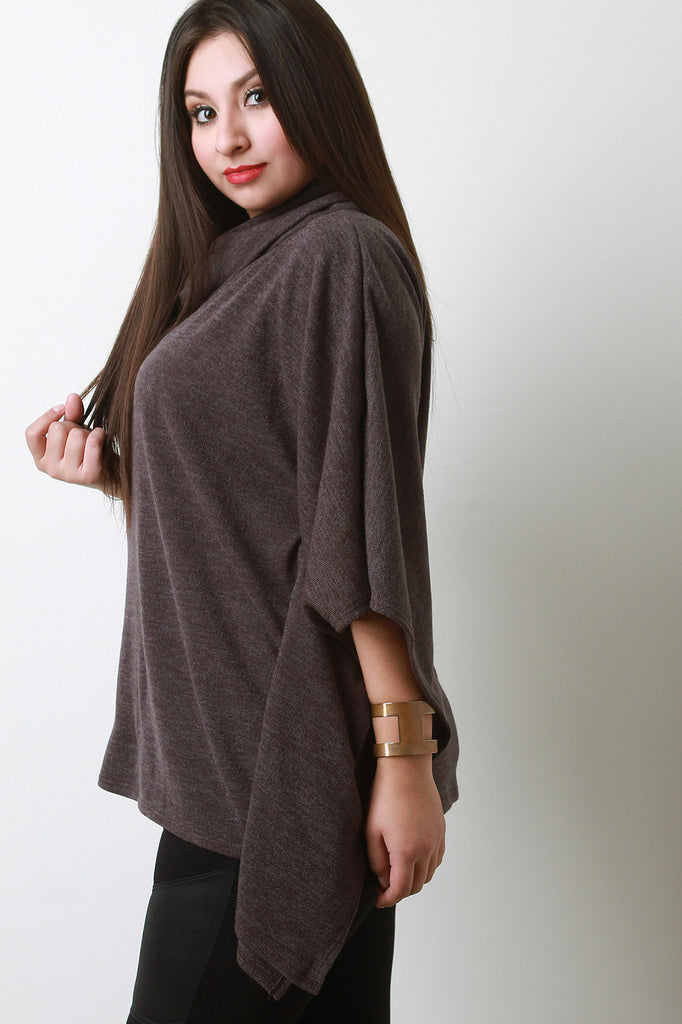 Soft Knit Cowl Neck Poncho Top - Rich Girl's Closet - 15
