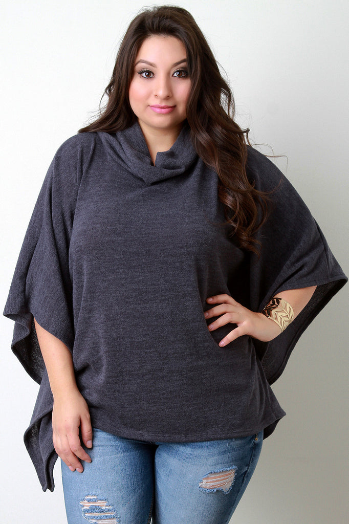 Soft Knit Cowl Neck Poncho Top - Rich Girl's Closet - 8