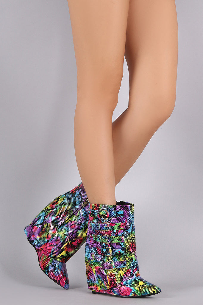 Rainbow Python Print Buckled Fold Down Shaft Wedge Booties - Rich Girl's Closet - 1