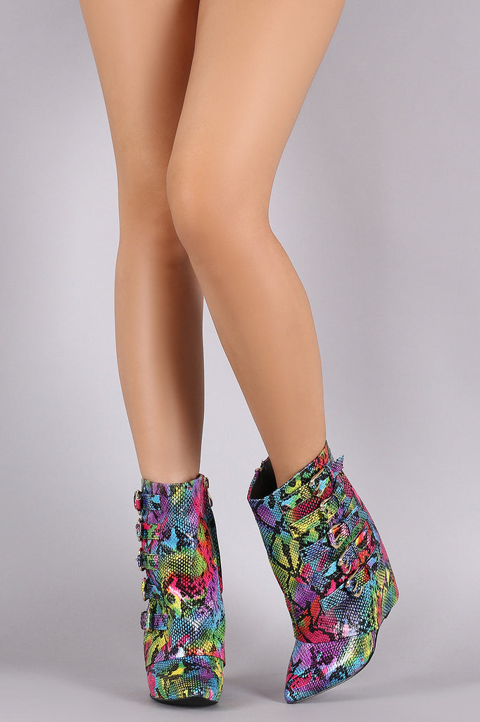 Rainbow Python Print Buckled Fold Down Shaft Wedge Booties - Rich Girl's Closet - 6