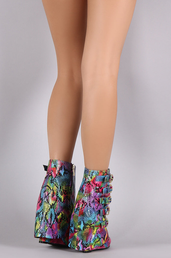 Rainbow Python Print Buckled Fold Down Shaft Wedge Booties - Rich Girl's Closet - 7