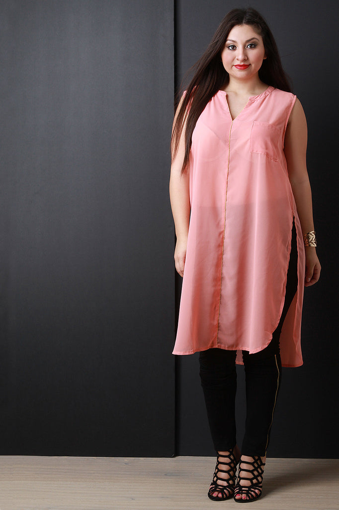 Chiffon Sleeveless Deep Slit Longline Tunic Top - Rich Girl's Closet - 17