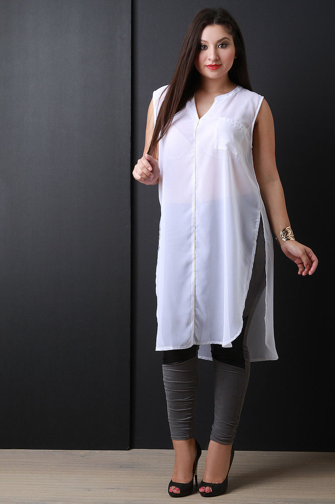 Chiffon Sleeveless Deep Slit Longline Tunic Top - Rich Girl's Closet - 14
