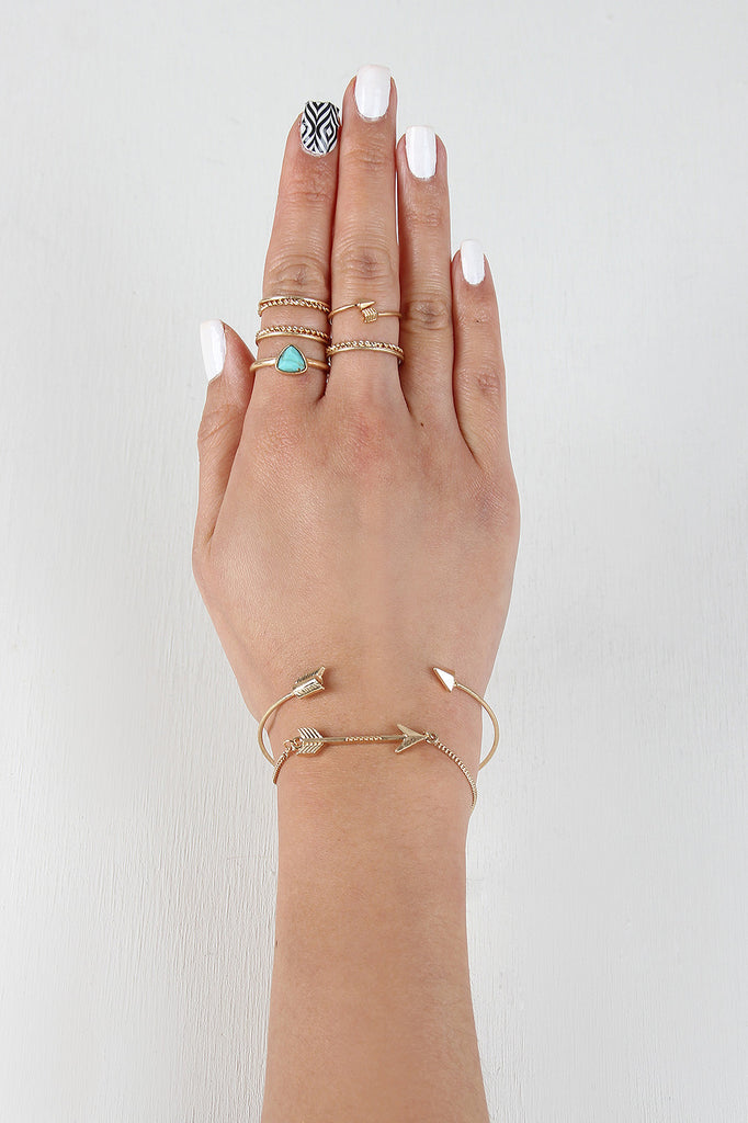 Delicate Arrow Bracelet And Ring Set - Rich Girl's Closet - 1