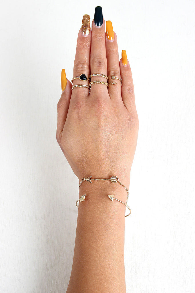 Delicate Arrow Bracelet And Ring Set - Rich Girl's Closet - 11