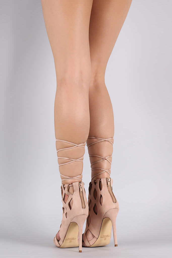 Suede Caged Laser Cut Drawstring Lace-Up Heel - Rich Girl's Closet - 5