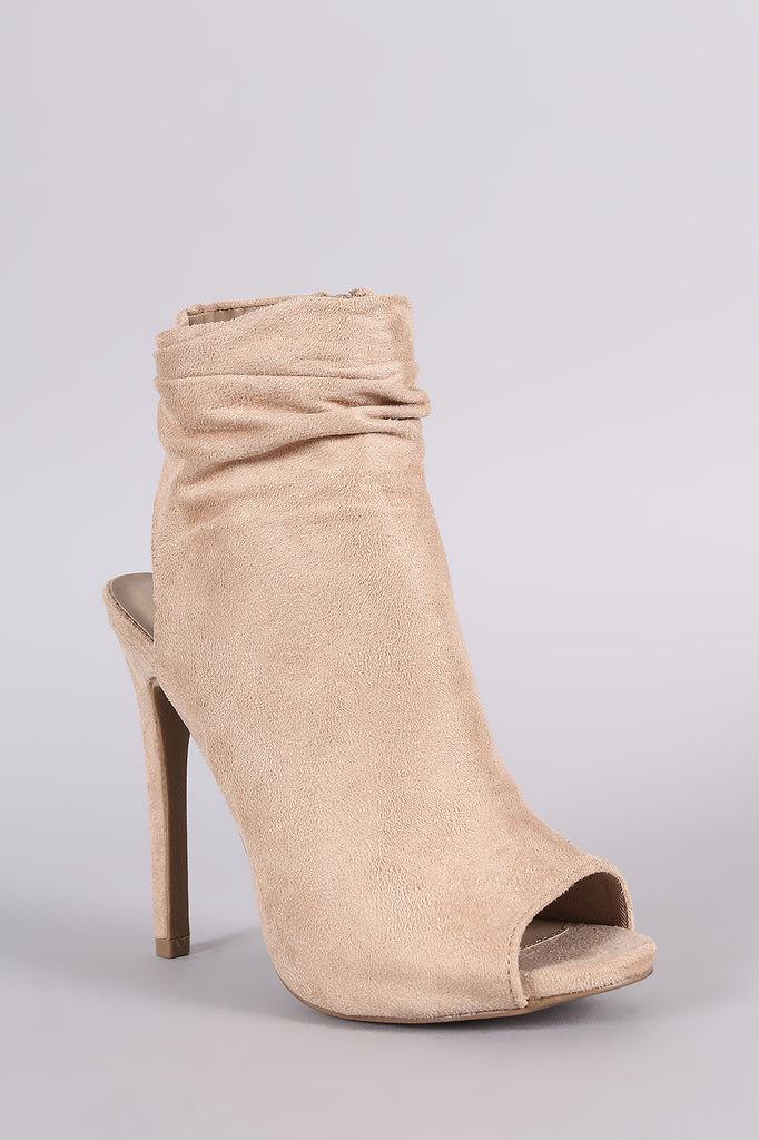 Wild Diva Lounge Suede Ruched Peep toe Mule Booties - Rich Girl's Closet - 2