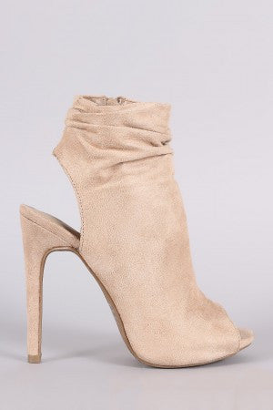 Wild Diva Lounge Suede Ruched Peep toe Mule Booties - Rich Girl's Closet - 10