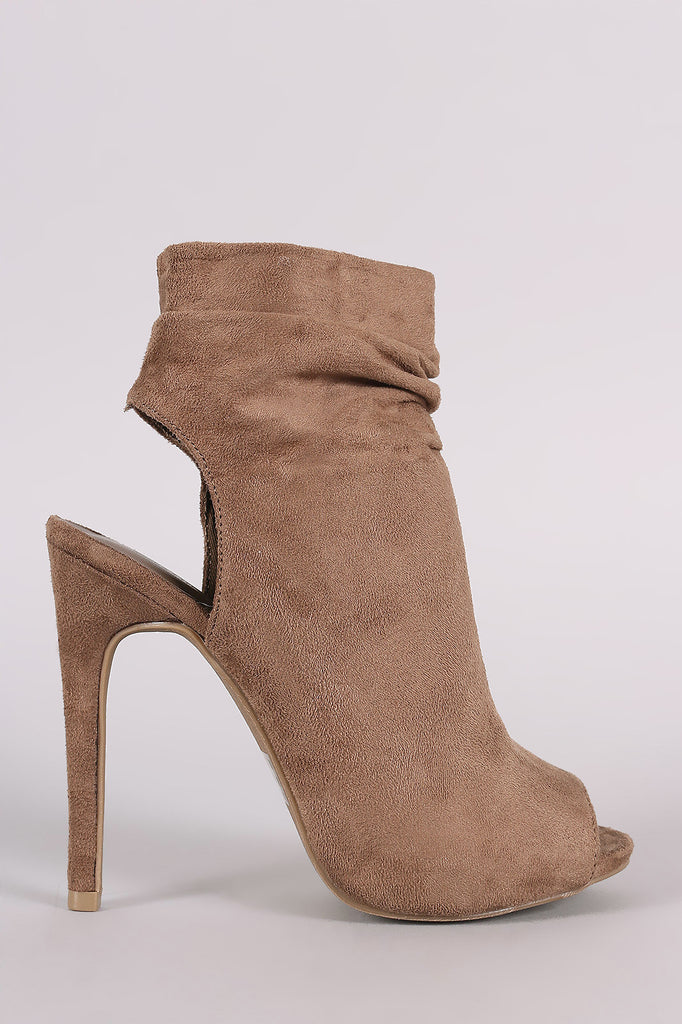 Wild Diva Lounge Suede Ruched Peep toe Mule Booties - Rich Girl's Closet - 4